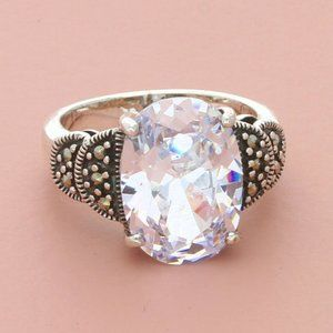 sterling silver clear cz & marcasite ring
